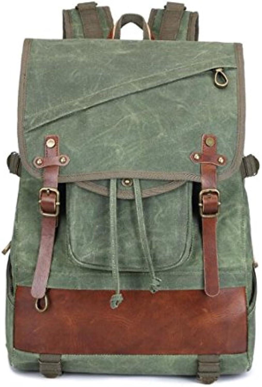 ZHANGOR Canvas Backpack, Weekend Mountaineering Backpack, Casual Backpack School Bag School Backpack,Green