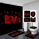 NICEME 4 Piezas baño Set Día San Valentín, la impresión Rose WC Impermeable Cubierta del Asiento bañera Alfombra Cortina Ducha Set baño para Las Decoraciones del día Tarjetas