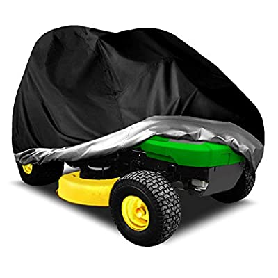 """INSTAR Riding Lawn Mower Cover Tractor Cover Waterproof Heavy Duty 210D UV Protection Universal Fits with Drawstring & Storage Bag (Black,XL (72"""" L x 54"""" W x 46"""" H))"""