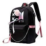 Mochila para adolescentes para niñas universitarias BTS Bookbag carga USB y puerto para auriculares