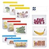 JZROME - Sacchetti riutilizzabili per alimenti, senza bisfenolo A, per congelatore, a tenuta stagna, extra spessi, per carni marinate, verdure, frutta, cereali, sandwich, snack, confezione da 12