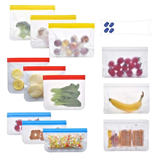 Paquet de 12 sacs réutilisables pour la conservation des aliments, sacs de congélation PEVA sans BPA, sacs de congélation LEAKPROOF, sacs ziplock EXTRA ÉPAIS, viandes, légumes, fruits, sandwich-JZROME
