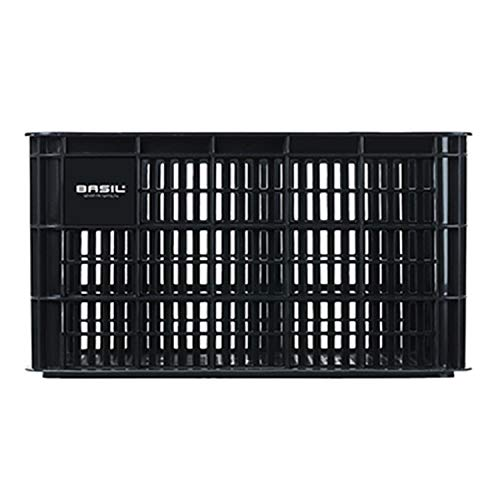 Basil Unisex– Erwachsene Crate L Fahrradkiste für den Vorderradgepäckträger, Black, 50 cm x 36 cm x 27 cm