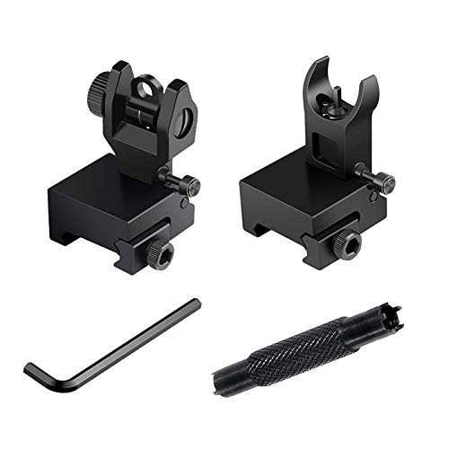 Bugleman Flip Up Iron Sight Includes Dual Front Sight Adjustment Tool Front Rear Sight Compatible for Picatinny Rail and Weaver Rail Black Foldable Iron Tactical Sights Mil Spec 1/2 MOA Elevation