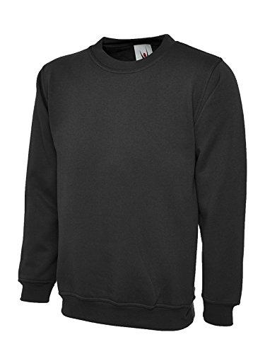Uneek 300 g jednolita klasyczna bluza z okrągłym dekoltem - czarna - XXL
