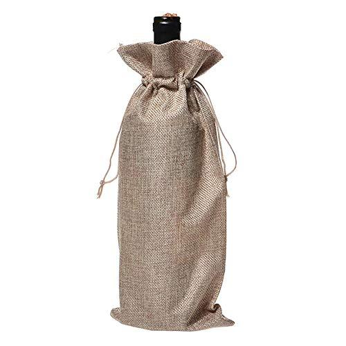 Daaimi - Bolsa de regalo para botella de vino con cordón de tela, bolsa de regalo de champán, para boda, al aire libre, bar, restaurante, familia, 5 unidades 35 * 15cm caqui
