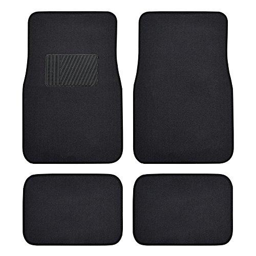 BDK MT-100-BK Classic Carpet Floor Mats for Car & Auto - Universal Fit -Front & Rear with Heelpad (Black)