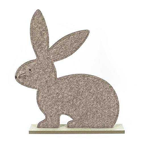 MACOSA NO6341 - Conejo decorativo de fieltro, tamaño XL, color beige, conejo de Pascua, decoración de mesa