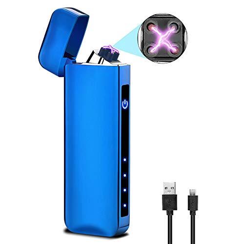 Accendino Usb Ricaricabile Antivento, Accendini Elettrici Touch Screen, Antivento Ricaricabile, Accendino Elettronico USB Senza Fiamma, Cavo, Tende, Natale Con Confezione Regalo (blu)