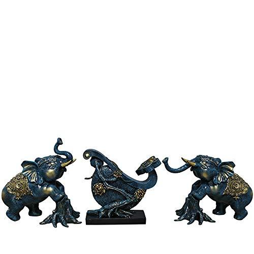 QMZZN Esculturas Decoración De La Estatua Escultura del Hogar Decoración De Elefante Hogar Sala De Estar Dormitorio Armario De Vino Entrada Decoración De Interiores Artesanía B