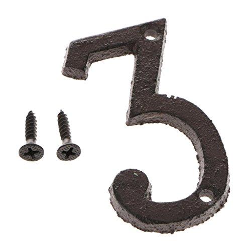 Homyl Retro Gusseisen Zahlen Nummer Ziffern DIY Hausnummer 0-9 - Nummer 3
