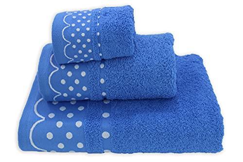 Acomoda Textil - Juego 3 Toallas de Baño 100% Algodón. Toalla Rizo con Cenefa Lunares 500 gr/m2. Pack 3 Toallas, Sábana Ducha, Lavabo y Tocador. (Azul) ⭐
