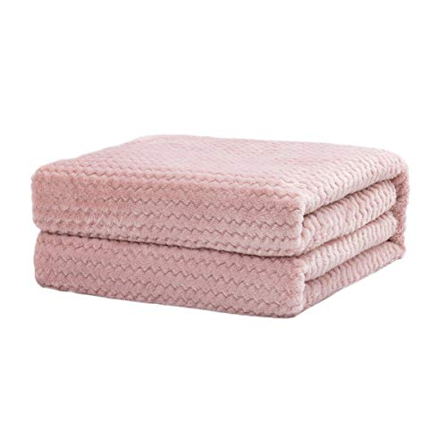 Rendiele Manta de franela super suave de franela de forro polar, mullida, calida, de color solido, patron jacquard para cama, sofa, 150 x 200 cm