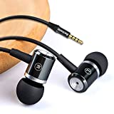 Wired in-Ear Headphones with Mic Volume Control Noise Cancelling Earbuds with Microphone Powerful Bass Earphones 3.5mm Jack for iOS Android Smartphones (Black)