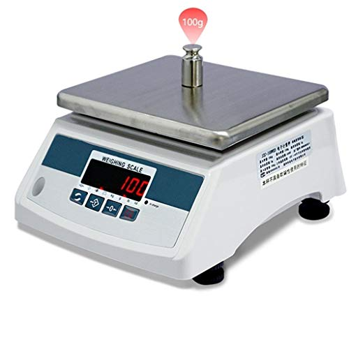 LBBL Báscula Digital Báscula Cocina,sistema Sensor de Alta Precisión 30kg/1g Acero Inoxidable Función de Tara Para Hostelería, Bollería, Frutería (Size : 30kg)