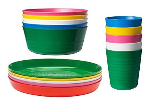 IKEA KALAS - Juego de 6 vasos y platos para niños, multicolor