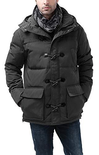 BGSD Men's Connor Hooded Waterproof Toggle Down Parka Coat Black Large