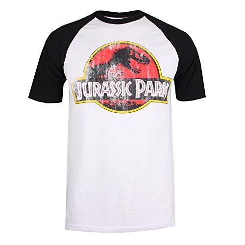 Jurassic Park Distressed Logo T-Shirt, Bianco (Bianco/Nero Wbl), X-Large Uomo