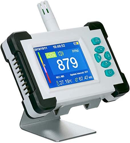 HYGLPXD CO2-Hohe Präzision Messgerät, Kohlendioxid Detektor mit Akku Tragbarer CO2-Meter-Tester für Kohlendioxid-Luftqualitäts-Detektor CO2-Meter-Monitor mit Aufbewahrungskoffer