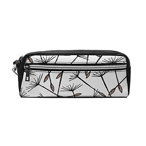 Naadloos patroon met vliegende paardebloem zaden PU lederen etui make-up tas cosmetische tas potlood zak met rits Travel toilettas voor vrouwen meisjes
