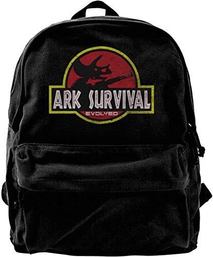 Canvas Rucksack, Ark Survival Evolved Travel Laptop Backpack Laptops Backpack College School Computer Bag for Women Men Fits 14 Inch Laptop and Notebook Casual Laptop Business Bag Black