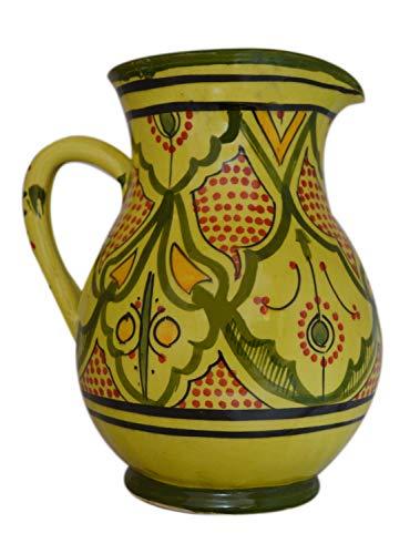 Moroccan Pitchers Sangria Handmade Ceramic Carafe Beverage Dispenser Jar Cooler Easy Pour 58 Oz Large