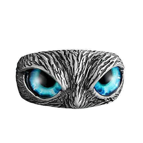 Rongchuang Womens Adjustable Ring,Vintage Sterling Silver Owl Ring for Women