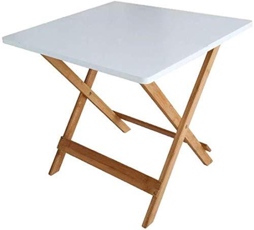 LF- Table Pliante, Facile à Transporter Balcon Jardin Bamboo Loisirs Table Multifonctions Canapé Étude côté Patio Table carrée Bar Table 50 * 50 * 50cm Élégant (Color : White)