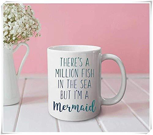 N\A por - Hay un millón de Peces en el mar, Pero yo Soy una Taza de Sirena: Taza Divertida, Taza Linda, Taza de Oficina, Regalos para Ella, Regalos para él, Taza de café, Taza de café de cerámica