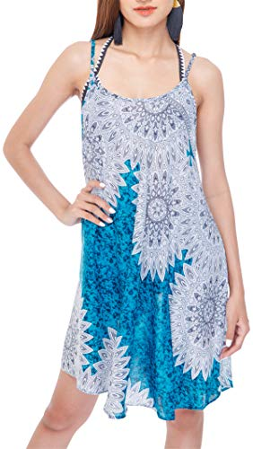 Joob Joob Beach Cover Up T Shirt Bohemian Loose Flowing Boho Summer Travel Festival Sleeveless Tank Sundress Dress