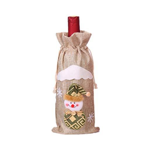 Navidad Arpillera Botella de Vino Bolsa Fiesta Decoración navideña Vacaciones Familia Blanco Muñeco de Nieve