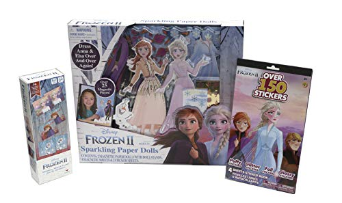 Disney Frozen II Sparkling Paper Dolls and Games Activity Set Bundle with Memory Match Game and Over 150 Stickers