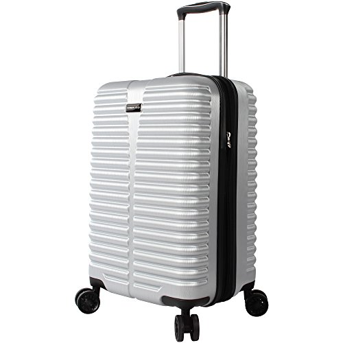 Ciao Durable 20 Inch Carry On Bag - Scratch Resistant 100% Polycarbonate Suitcase - Lightweight Expandable Luggage With 8-Rolling Spinner Wheels (20in, Silver)