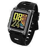 OOLIFENG GPS-Smartwatch Wasserdicht IP68, Multisport-GPS-Uhr, Mit Eingebauten Pulsmesser, Barometer, Höhenmesser, Kompass Für Android Und Ios,Black