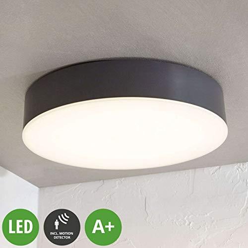 Lampenwelt LED Deckenleuchten 'Lahja' mit Bewegungsmelder (Modern) in Schwarz (1 flammig, A+, inkl. Leuchtmittel) - Außenleuchte für Garten, Terasse, Balkon & Haus, LED-Deckenleuchte