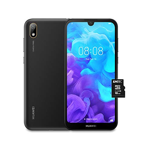 "Huawei Y5 2019 (Nero) più Microsdhc 16GB Class 10, Telefono con 16 GB, Display 5.71"" HD+, Processore Quad Core [Versione Italiana]"