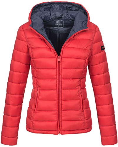 Marikoo Damen Jacke Steppjacke Herbst Winter Übergangsjacke gesteppt B651 [B651-Luc-Rot-Gr.XXL]