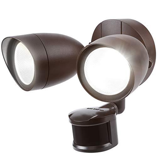 LEONLITE Motion Sensor Flood Light, UL & Energy Star Listed, LED Security Lights Dusk to Dawn, Outdoor Floodlighting Fixture, Adjustable Dual Heads, 1400lm, IP65 Waterproof, 5000K Daylight, Bronze