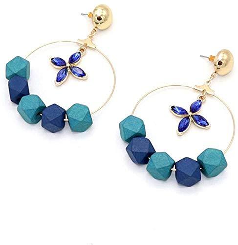 JIAJBG Damas Pendientes Artesanales Azul Cristal Facte Faceta de Madera Pendientes de Madera Pendientes Geometría Flor de Oro Color de la Joyería Mujeres Retro