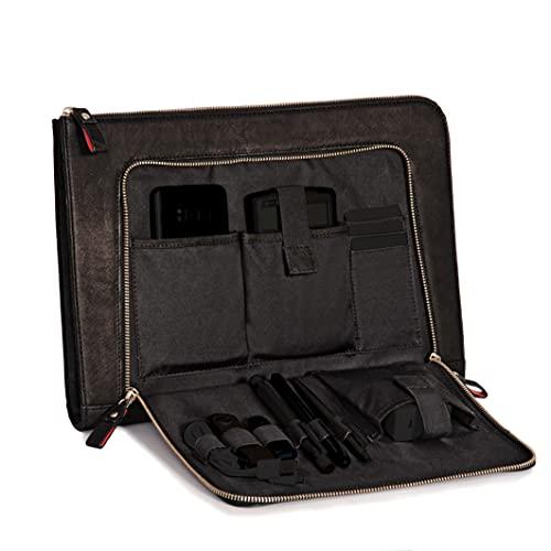 Custodia per notebook DONBOLSO London nera - 13,3 pollici DIN A4 Ultrabook Cartella in vero cuoio per uomini e donne