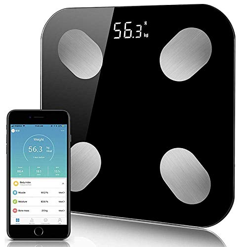 HYY-YY Weegschaal Bluetooth Body Fat Scale, Smart nauwkeurige digitale Badkamer weegschaal, Body Composition Analyzer, Smartphone App, 180Kg, Black