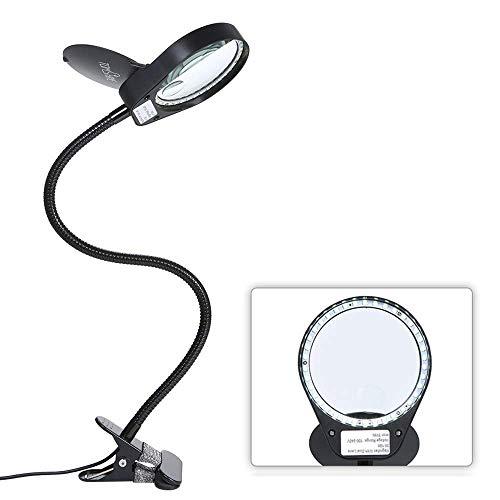 Tomshine拡大鏡  スタンドルーペ  クリップ式 倍率3倍/10倍 レンズ直径10CM LEDライト付き 読書 新聞 地図 ジュエリー 手芸 虫眼鏡 USB給電