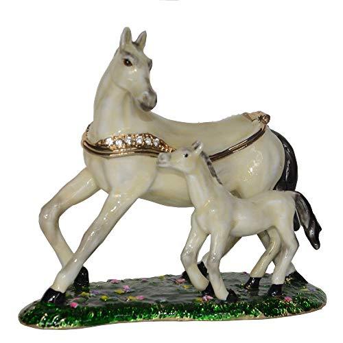 Statue Weißes Pferd Schmuckkästchen Pferd Schmuckkästchen Pferd Halskette Ständer Geschenk
