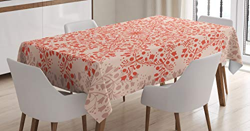 ABAKUHAUS Mandala Tafelkleed, Landelijk Takjes Blooms, Eetkamer Keuken Rechthoekige tafelkleed, 140 x 240 cm, Perzik en zalm