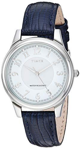 Timex Women\'s TW2R87400 Basics 36mm Blue/Silver-Tone Leather Strap Watch