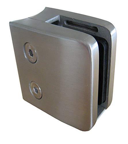 PMC Edelstahl V2A Glashalter Klemmhalter Glasklemme Geländer Sicherungsplatte (Rundrohr Ø42,4, 12,00 mm)