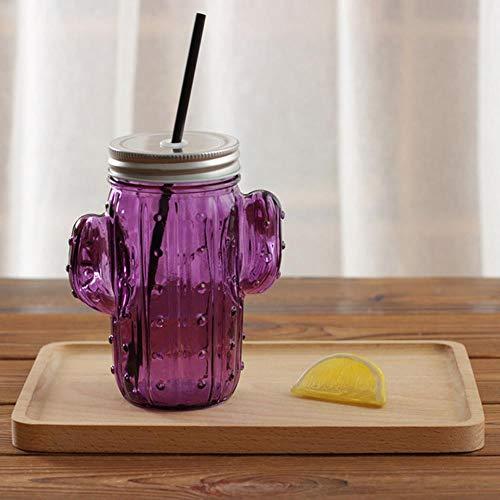 Mug Tasse Cadeau Créatif Tasse De Bocal En Verre 3D Cactus Avec Couvercle Et Paille Pour Boissons Fraîches Smoothie Tasse En Verre D'Eau, Violet