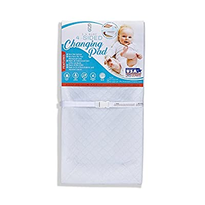 "LA Baby Waterproof 4 Sided Changing Pad, 30"" - Made in USA. Easy to Clean W Non-Skid Bottom, Safety Strap, Fits All Standard Changing Tables/Dresser Tops for Best Infant Diaper Change"