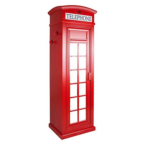 Dmora Armadio Cabina telefonica londinese con Tre Ripiani e Specchio, Colore Rosso, cm 68 x 215 x 55