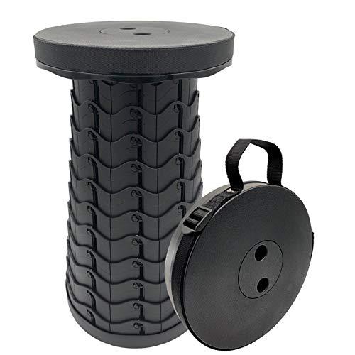FIEMACH Tragbarer Klapphocker, Zweiten Generation Mini Teleskophocker Leichte Campinghocker für Outdoor Camping Angeln BBQ Drinnen Küche, Belastung 397 lb (2020 Upgrade) (Schwarz)